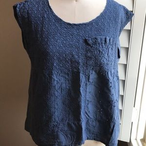 Anthropologie eyelet patch short sleeved tee S